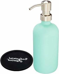 seafoam glass soap dispenser