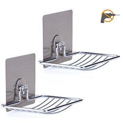 LAUNGDA Soap Dish Adhesive Soap Holder Wall Mounted Chrome S