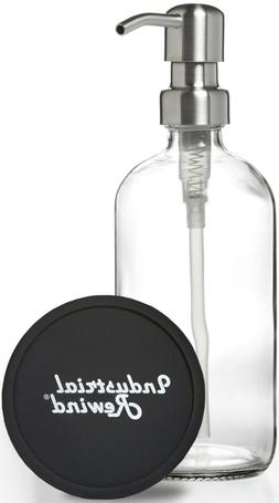 Soap Dispenser with Stainless Metal Pump - Clear 16oz Glass
