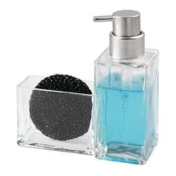 mDesign Soap Dispenser Pump with Sponge Caddy Organizer for
