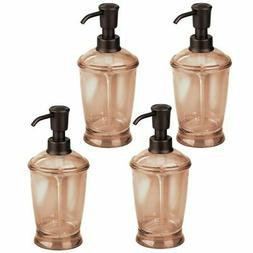 mDesign Soap Dispenser Pump Bottle for Bath - 4 Pack