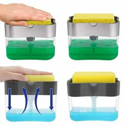Liquid Soap Pump Dispenser ABS Sponge Holder Press Down Kitc