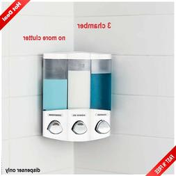 Soap Shower Dispenser 3 Chamber Refillable Pump Shampoo Cond