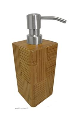 Square Bamboo Bathroom Bath Lotion Pump with Real Stainless