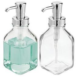 mDesign Square Glass Liquid Soap Dispenser Pump Bottle for K