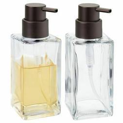 mDesign Square Glass Refillable Liquid Soap or Sanitizer Dis