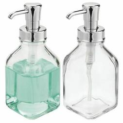 mDesign Square Glass Refillable Liquid Soap Dispenser Pump,