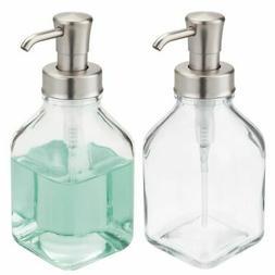 mDesign Square Glass Refillable Soap Dispenser Pump, 2 Pack