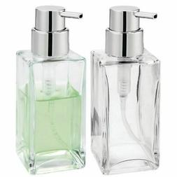 mDesign Square Glass Refillable Soap Dispenser Pump, 2 Pack
