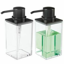 mDesign Square Plastic Refillable Soap Dispenser Pump, 2 Pac