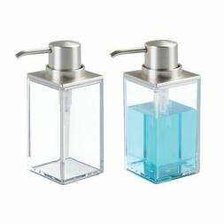 mDesign Square Plastic Refillable Soap Dispenser Pump