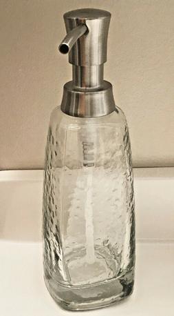 New Textured Glass Vitri Hand Soap Dispenser w/ Nickel Accen