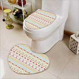 aolankaili 2 Piece Toilet Cover Set Tribal Aztec s in Stripe
