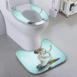 aolankaili Toilet seat Floating Mermaid Water Bubbles Underw