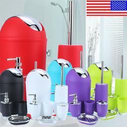 US 6Pcs Bathroom Accessory Set Bin Soap Dish Dispenser Tumbl