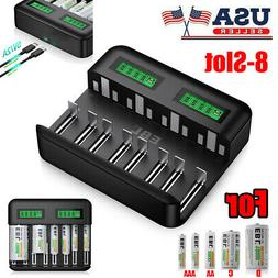 8 Slot LCD Smart Rechargeable C D Size Battery Charger for N