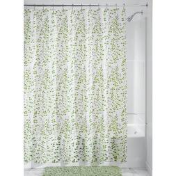 """InterDesign Vine Shower Curtain, 72"""" x 72"""", Green/White"""