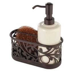 Vine Ceramic Soap Pump with Caddy Dispenser with Storage Com