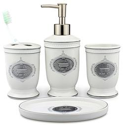Seafulee Vintage Ceramic Bathroom Accessory Set, 4 Pieces Ba