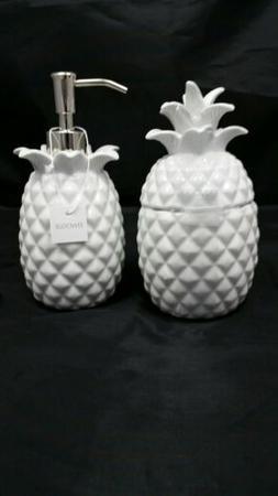Envogue White Pineapple Soap Lotion Dispenser and Storage Ja