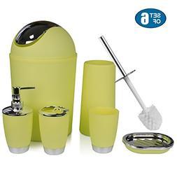 Dergixee Yellow Bathroom Accessory Set, 6 Piece Luxury Bath