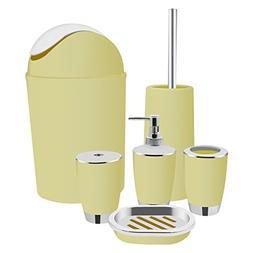 Yasolote Yellow Bathroom Accessories Set Bath Toilet Brush A